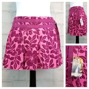 NWT Roxy 7 Pink Purple Corduroy Mini Wrap Skirt